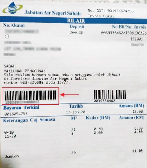 Bar kod bil terkini dalam bil air untuk Negeri Sabah