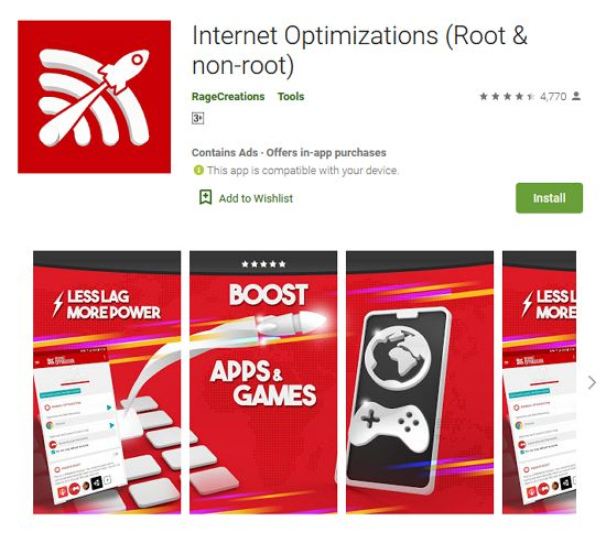 Internet Optimizations (Root & non-root) app lajukan internet
