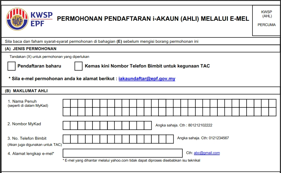 borang permohonan i Akaun daftar i-akaun KWSP online