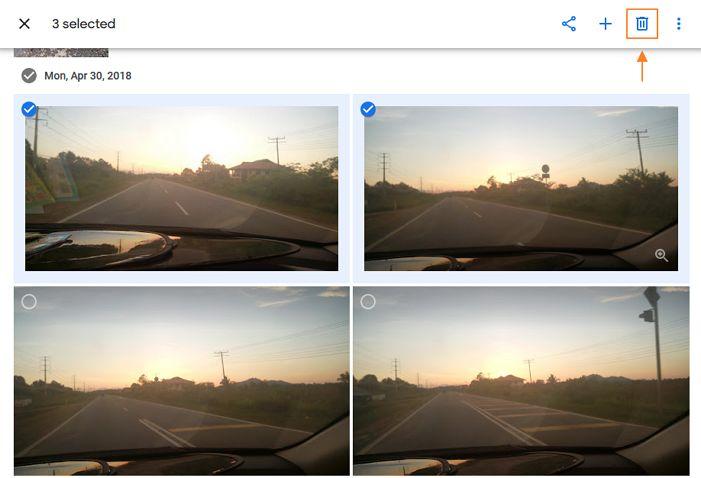 ikon delete gambar dalam laman google photos