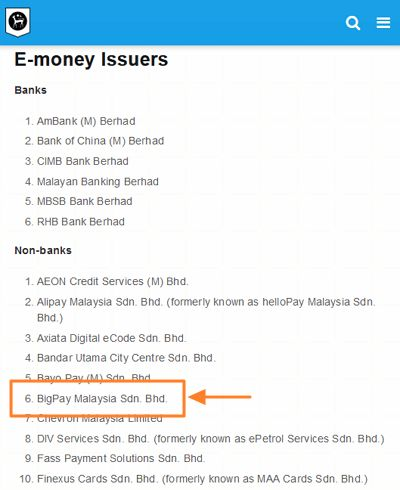 syarikat bigpay dalam senarai bank negara