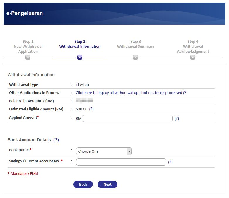 withdrawal information step 2