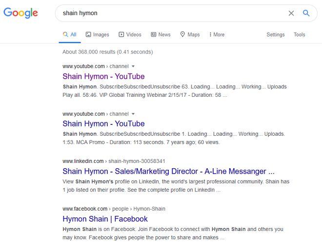 google search shain hymon