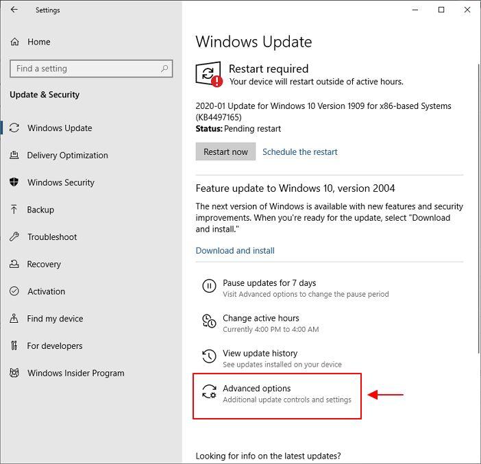 setting advance untuk window update