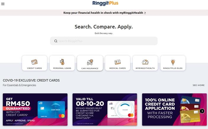 Paparan permohonan kredit kad dengan ringgit plus