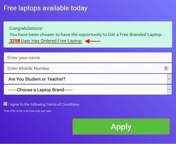 bilangan user yang sudah order laptop