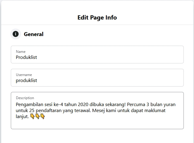 contoh description kreatif facebook page rv1