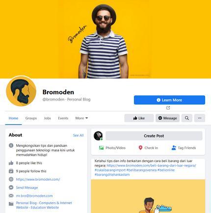 contoh paparan facebook page bromoden