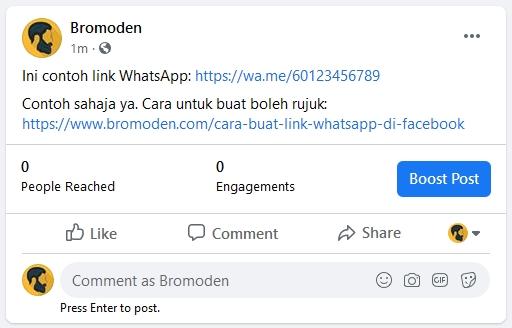 contoh paparan whatsapp link di facebook