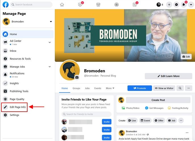 menu edit page info facebook page