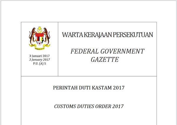 muka depan perintah duti kastam 2017