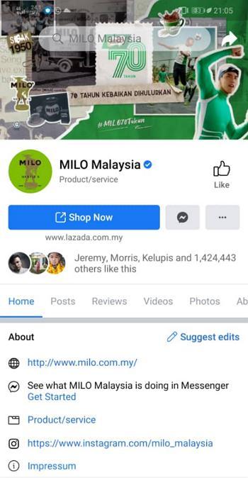 paparan facebook page milo mobile