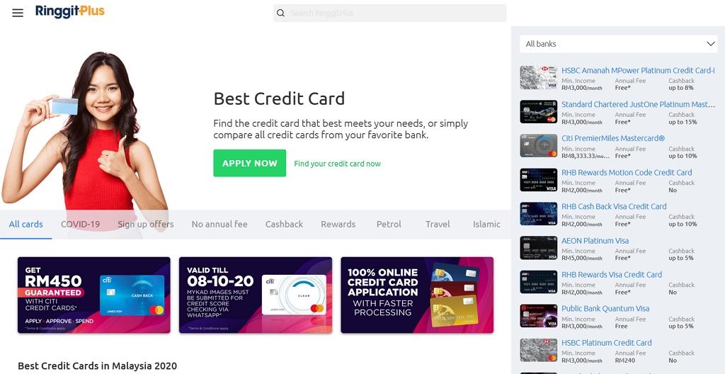 pilihan kredit kad di ringgit plus