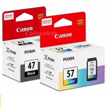 ink printer canon e410: Canon PG 47 Black / Canon CL-57s Colour