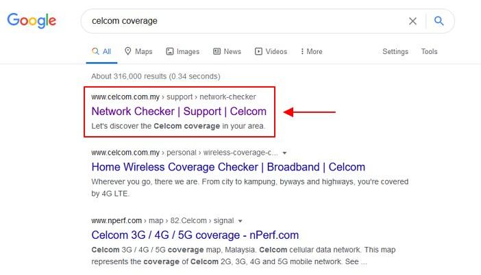 google search untuk network coverage