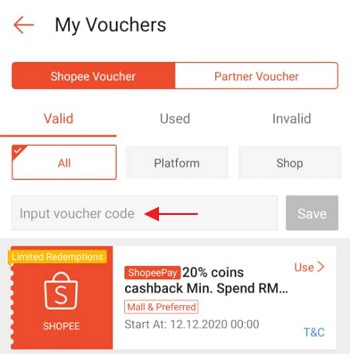 Add voucher Shopee