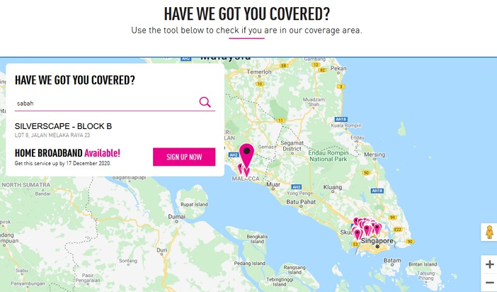 coverage servis internet TIME