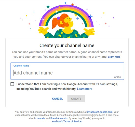 Buat name channel youtube