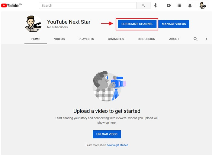 butang customize channel