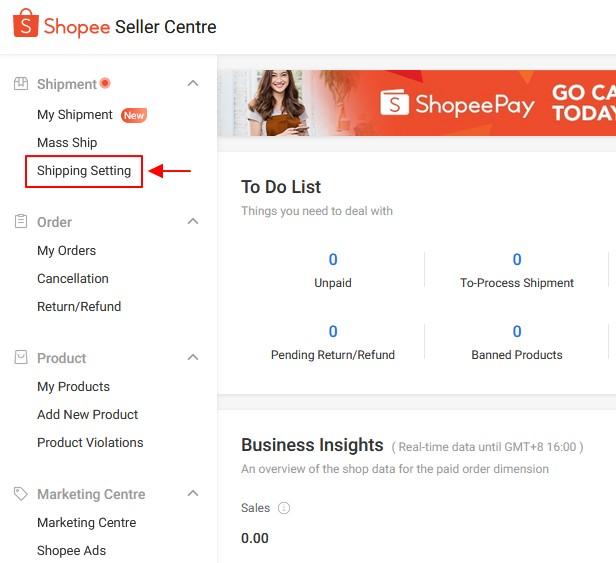 menu shipping setting