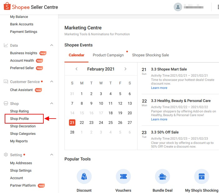 menu shop profile