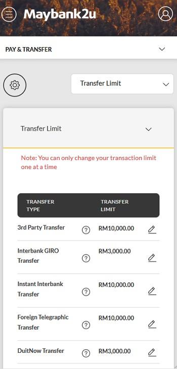 paparan ubah transfer limit