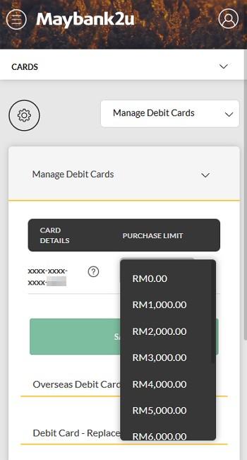 pilihan limit penggunaan debit kad