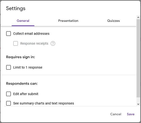 Bahagian setting General Google Form