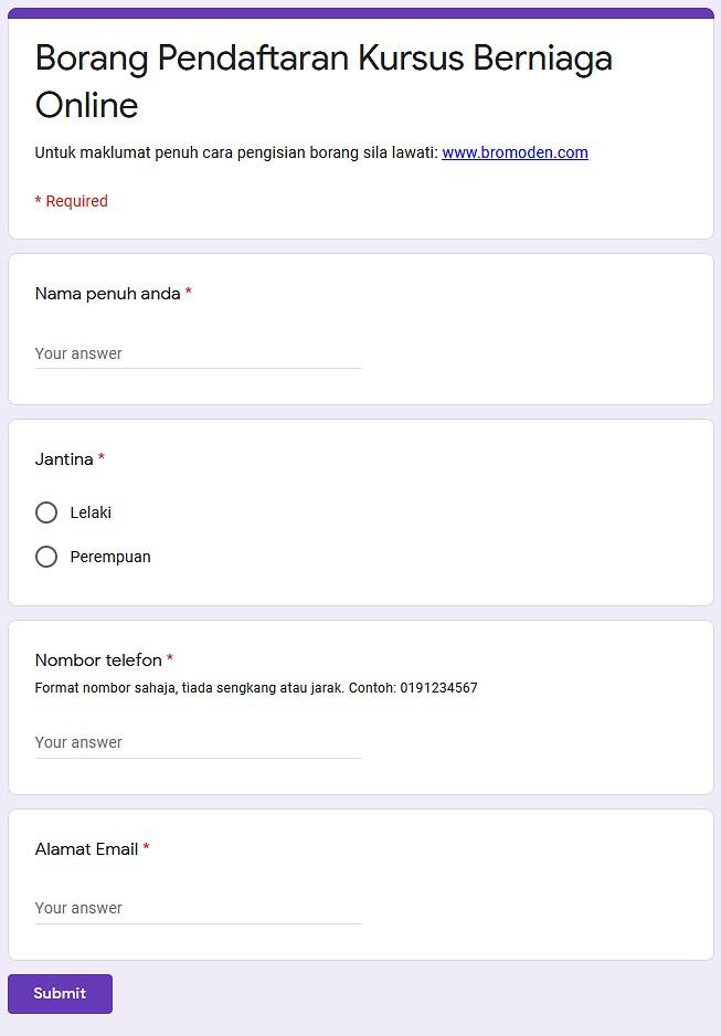 Contoh borang Google Form Siap