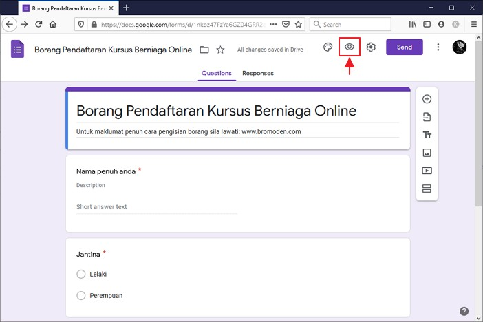 butang preview google form