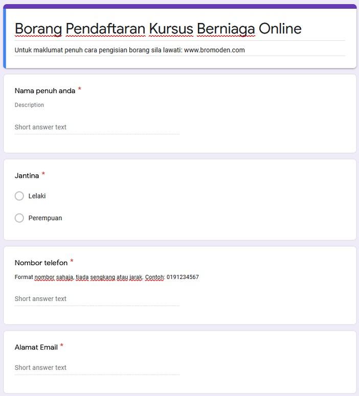 contoh borang soalan google form