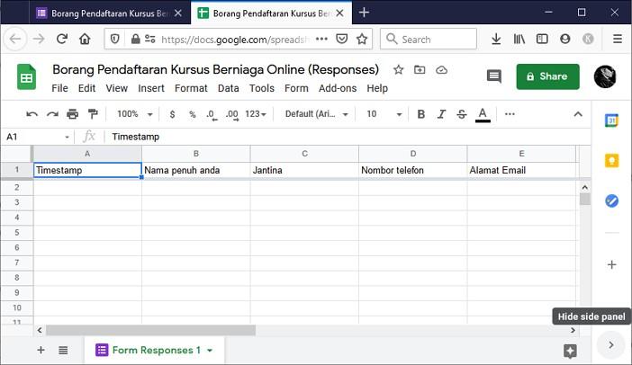 paparan spreadsheet untuk kumpul data dari borang