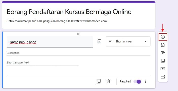 tambah soalan baru dalam google form