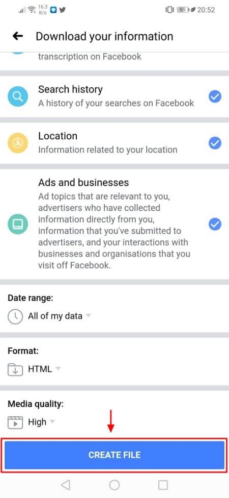 butang create file facebook