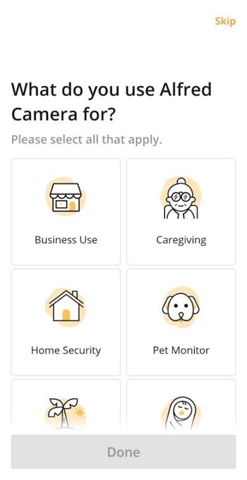 Pilih kegunaan Aplikasi Alfred Home Security Camera.