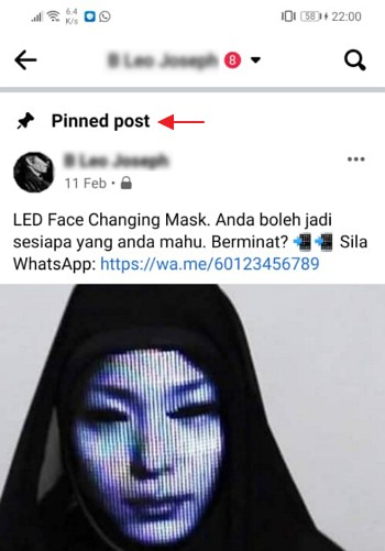 contoh pinned post di facebook