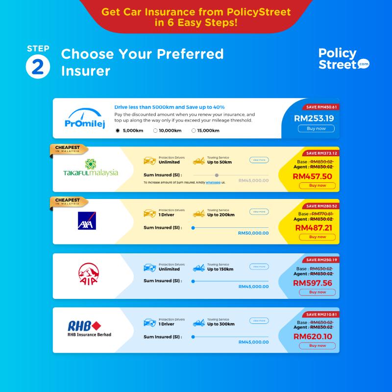 langkah 2 cara renew insurance kereta online - pilih insurans