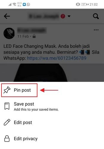 pilihan pin post facebook