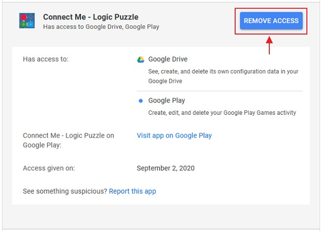 remove access servis di google
