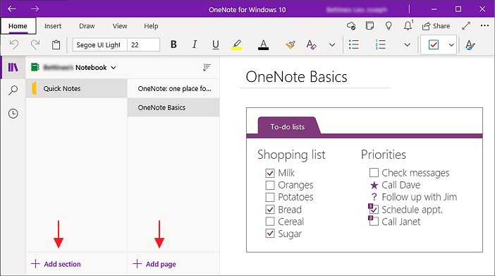 add section dan add text dalam onenote rv1
