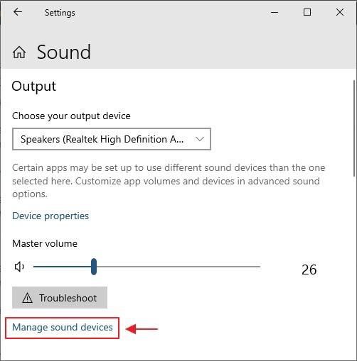 manage sound device dalam sound setting