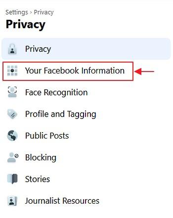 menu your facebook information