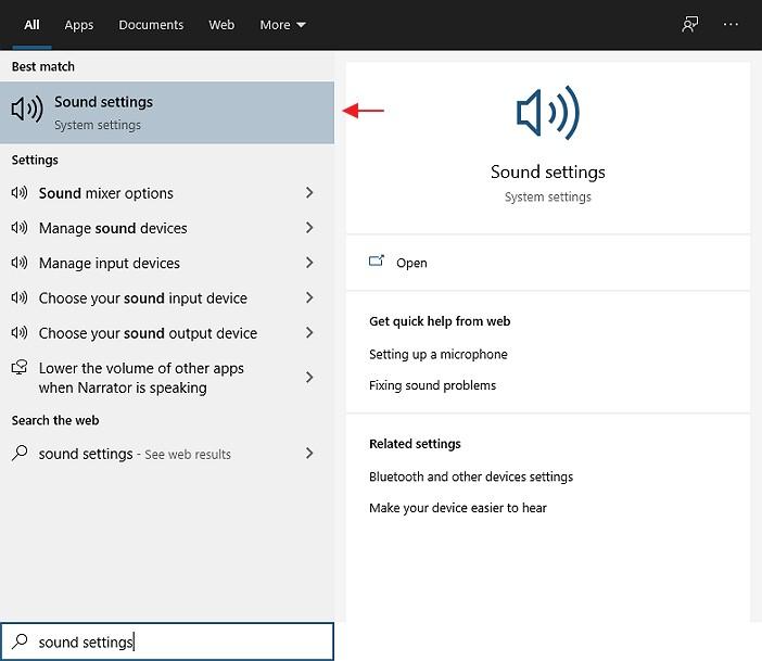 sound setting windows 10