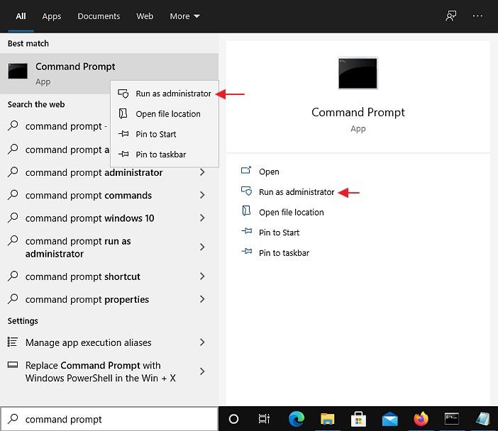 start aplikasi command prompt